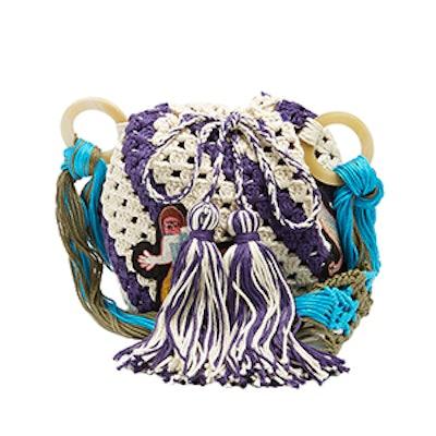 Pineapple-Appliqué Crochet-Cotton Shoulder Bag