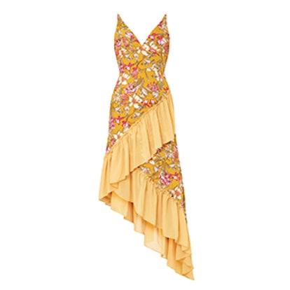 Floral Frill Detail Asymmetric Maxi Dress