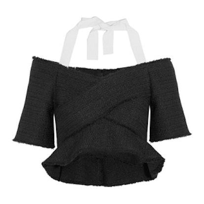 Cropped Cold-Shoulder Tweed Top