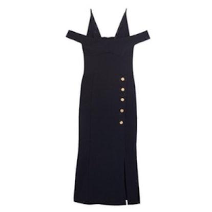 Beltrán Cold-Shoulder Crepe Midi Dress