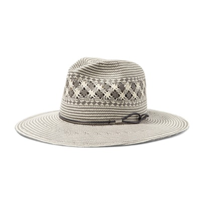 Rag & Bone Leather Trimmed Woven Paper Straw Fedora