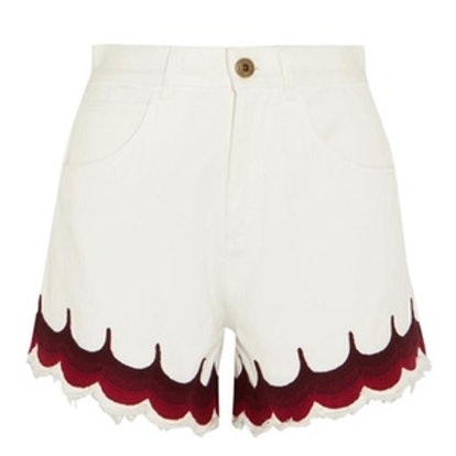 Scalloped Embroidered Denim Shorts