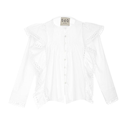 Cotton Shirting Ruffle Shirt
