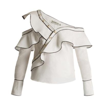 One-Shoulder Cotton and Silk-Blend Shirt