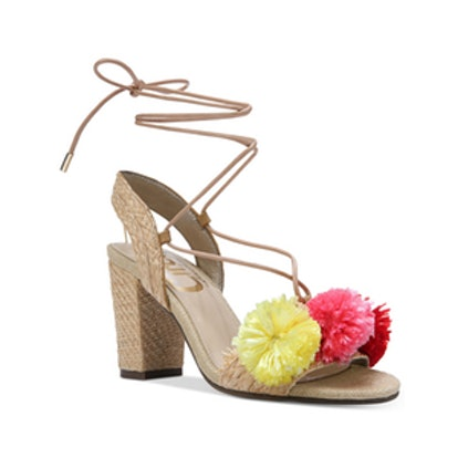 Ellie Pom Pom Block-Heel Sandals