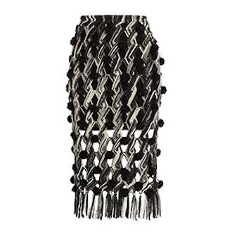 Lela Hand-Macramé Pompom Embellished Skirt