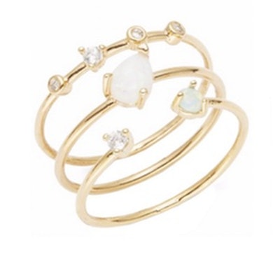 Opal And Stone-Accented Stackable Ring Set