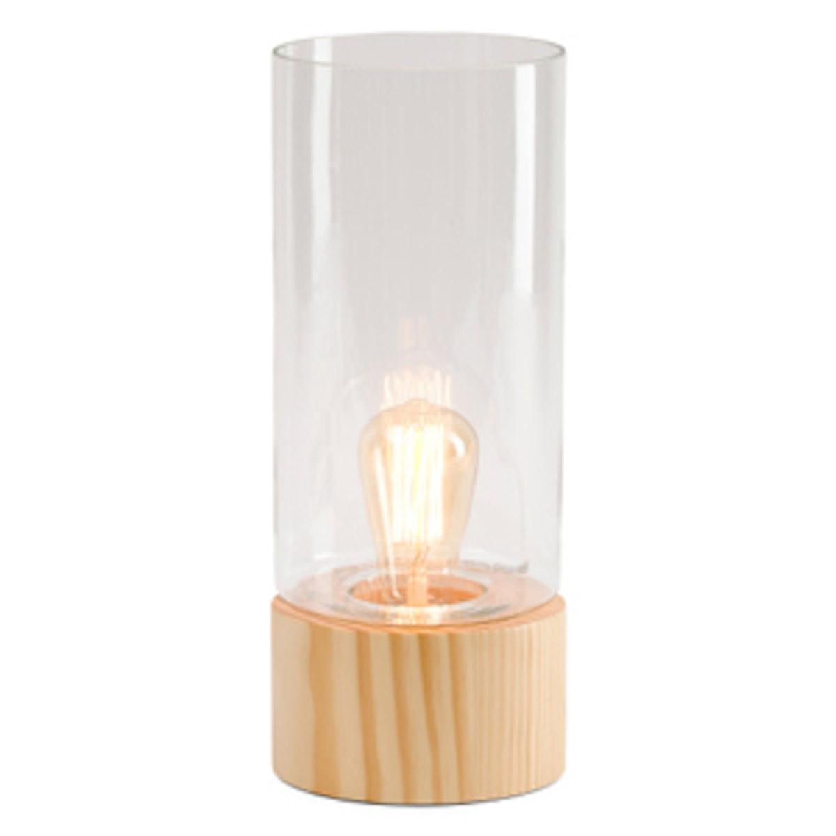 Glass Uplight On Wood Base