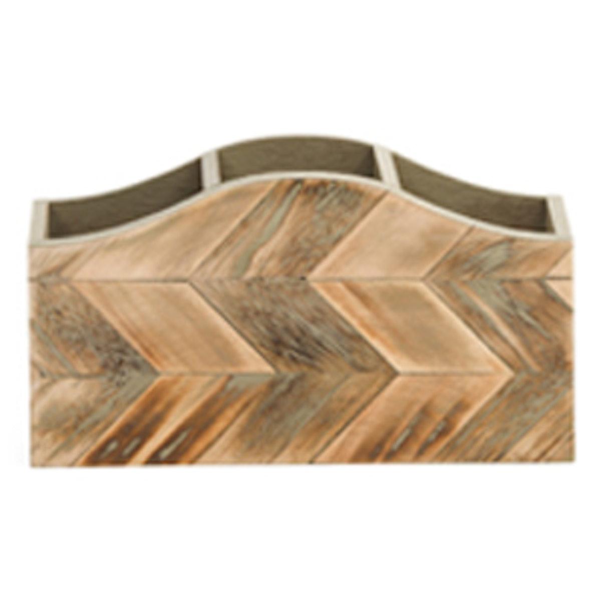 Chevron Wood Desktop Organizer