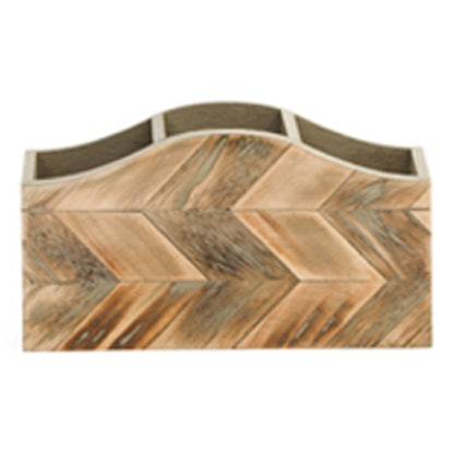 Chevron Wood Desktop Organizer