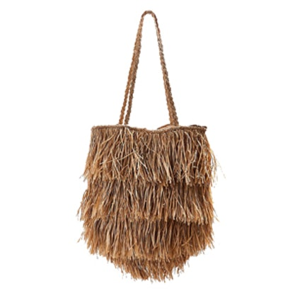 Fringed Straw Tote Bag