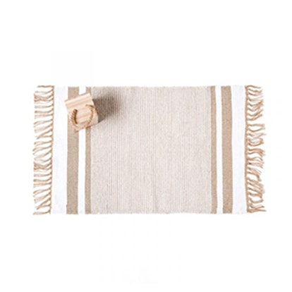 Golden Striped Cotton Rug