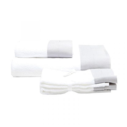 Cotton Terrycloth Towels with Linen Border
