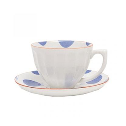 Polka Dots Porcelain Teacup and Saucer