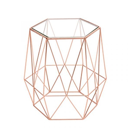 Small Hexagonal Side Table with Geometric Base