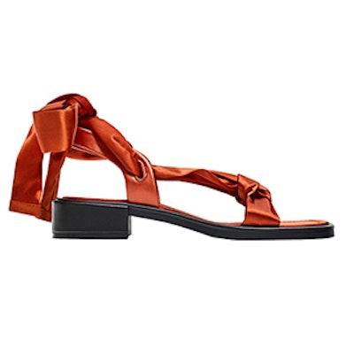 Flat Satin Lace-Up Sandals