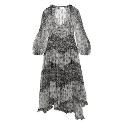 Divinity Ruffled Floral-Print Silk-Chiffon Midi Dress