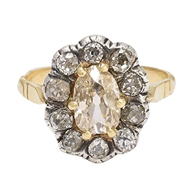 Antique Georgian 2.5 Carat Old Cut Diamond Cluster Ring