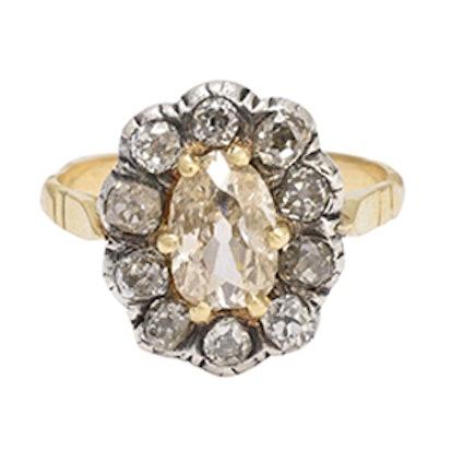Antique Georgian 2.5 Carat Old Cut Diamond Cluster Ring