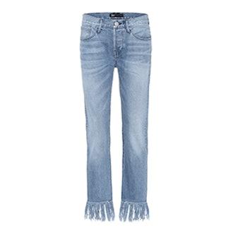 WM3 Crop Fringe Denim Jeans