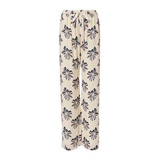Welsley Floral Print Silk Pants