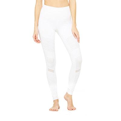 High-Waist Moto Legging In White/White Glossy