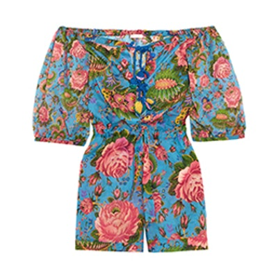 Charlee Floral-Print Cotton-Voile Playsuit