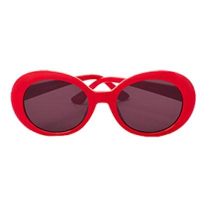Retro Oval Sunglasses In Red