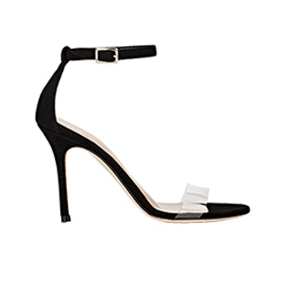 Suede & PVC Ankle-Strap Sandals