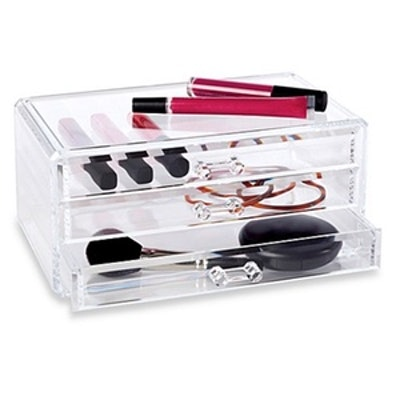 Clear 3 Drawer Cosmetic Organizer