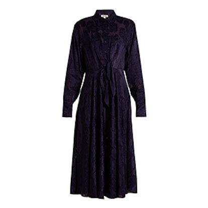 Long-Sleeve Waist-Tie Devoré Shirtdresss