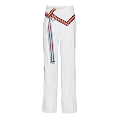 Grosgrain-Trimmed Stretch Linen-Blend Wide-Leg Pants