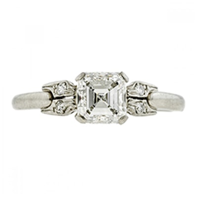 Art Deco Diamond Engagement Ring, Asscher Cut 1.00ct