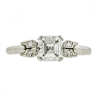 Art Deco Diamond Engagement Ring, Asscher Cut 1.00ct