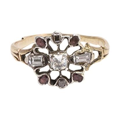 Georgian Diamond and Garnet Snowflake Ring