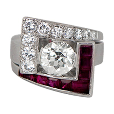 Rare Diamond And Ruby Retro Ring