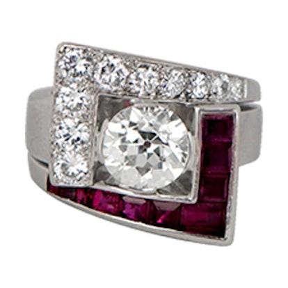 Rare Diamond And Ruby Retro Ring