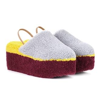 Shearling Platform Slippers