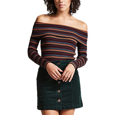 Striped Off-The-Shoulder Sweater