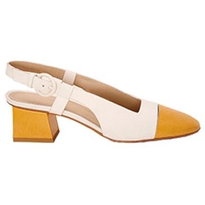Mildred Slingback Giallo & Bianco