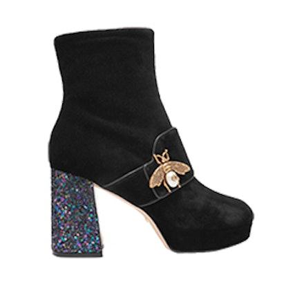 Embellished Glittered Velvet Ankle Boots