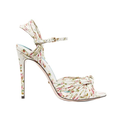 Knotted Floral-Print Leather Sandals