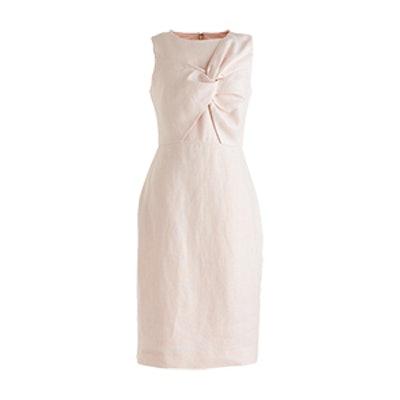 Tall Drape Knot Dress In Irish Linen