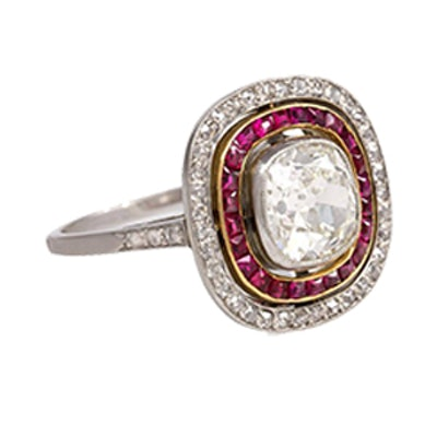 French Art Deco Ruby And Diamond Ring