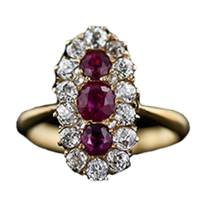 Victorian Burmese Ruby & Diamond Dinner Ring