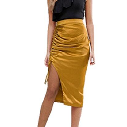 Gold Satin Ruch Midi Skirt