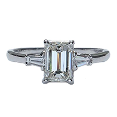 MidCentury Emerald Cut Diamond Engagement Ring