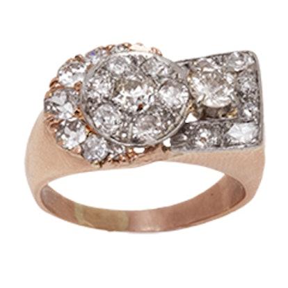 Yellow Gold And Asymmetrical Diamond Ring