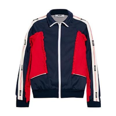 Color-Block Ruffled Tech-Jersey Jacket