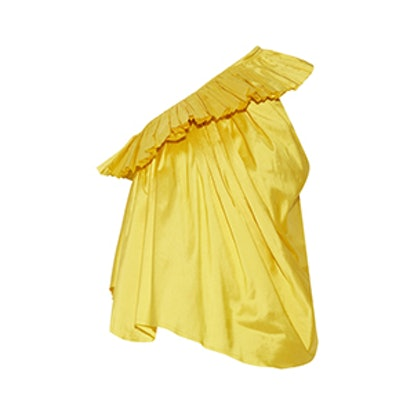 One-Shoulder Ruffled Silk-Taffeta Top